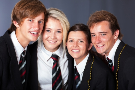 group of happy high school students closeup portrait photo