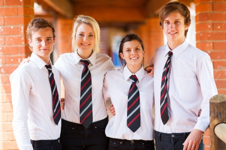 uniform student: group of high school students portrait