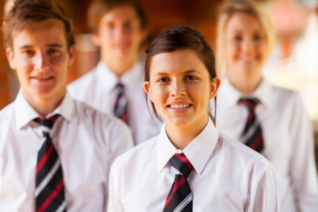 uniforme escolar: grupo de chicas de secundaria y los niños retrato