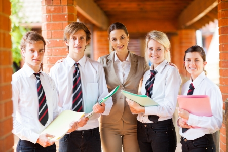 uniform student: high school teacher and students portrait