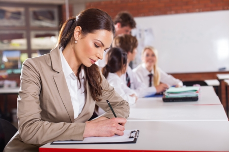 beautiful school teacher preparing lesson in classroom Stock Photo - 15893342