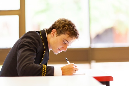 male high school student in classroom Stock Photo - 15893334