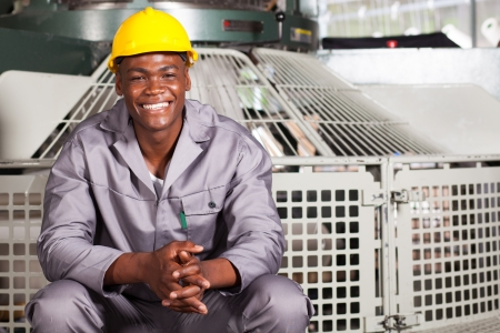 happy african american textile factory worker portrait Stock Photo - 16013854