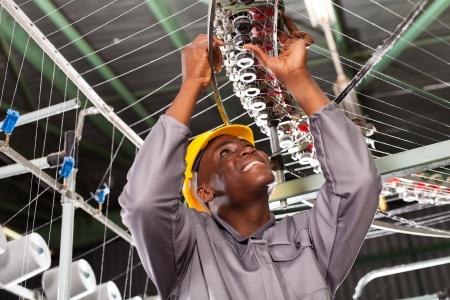 loom: african american textile industrial mechanic repairing weaving loom