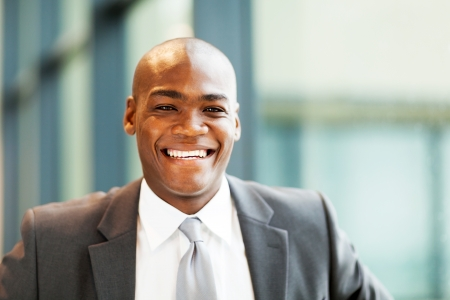 handsome african american businessman closeup portrait photo