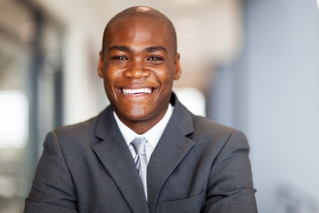 smiling african american businessman closeup portrait photo