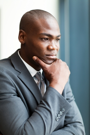 thoughtful african american businessman in office Stock Photo - 16013930