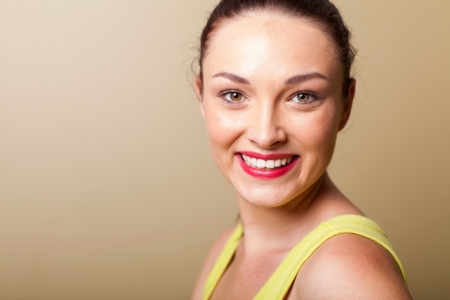 smiling beautiful young woman closeup portrait in studio Stock Photo - 16729961