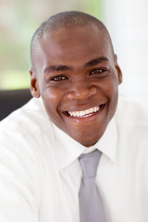 happy young african businessman closeup Stock Photo - 16825254