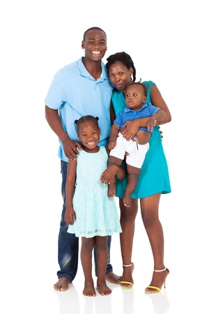 black out: happy african american family full length portrait