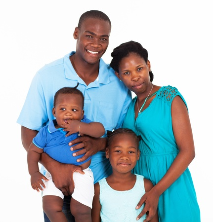 happy african family group portrait on white Stock Photo - 17365189