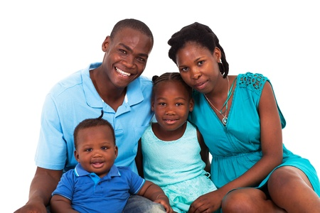 black out: joyful african american family isolated on white