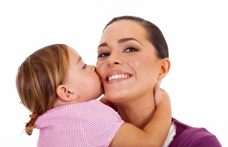 little daughter kissing mother isolated on white Stock Photo - 17331202