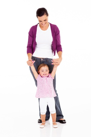 mother and little daughter on white Stock Photo
