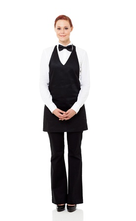 pretty waitress full length portrait isolated on white photo