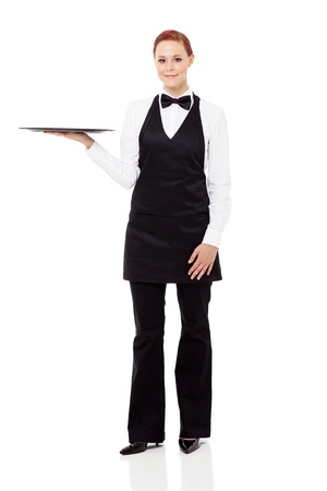 young waitress holding a empty tray isolated on white photo