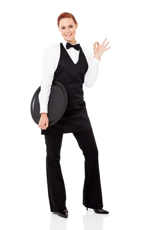 waiter tray: cute young waitress giving ok hand sign isolated on white