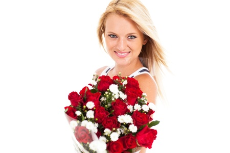 beautiful young woman holding bunch of red roses isolated  photo