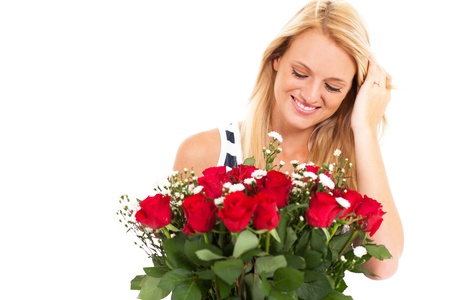 admirer: happy young woman received bunch of roses from secret admirer
