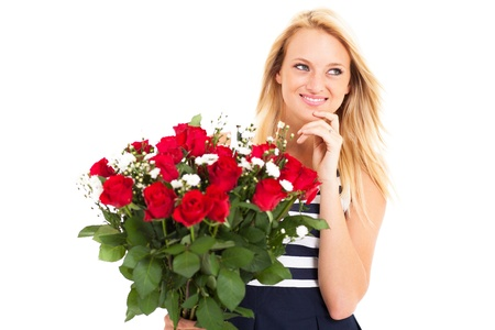 attractive young woman received bunch of roses from secret admirer photo