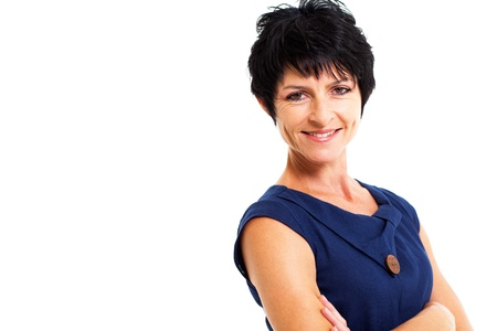 middle aged woman: pretty middle aged woman portrait on white