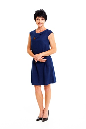 middle aged: elegant middle aged woman in blue dress full length portrait isolated on white Stock Photo