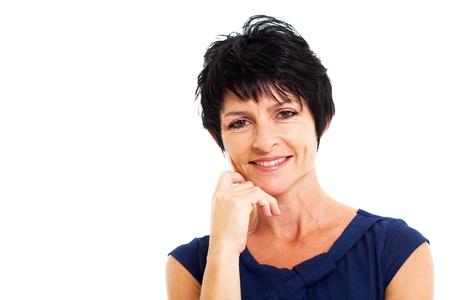 beautiful middle aged woman: beautiful middle aged woman closeup portrait Stock Photo