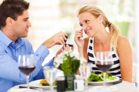 proposed: happy young woman in tears when her boyfriend finally proposed to her Stock Photo