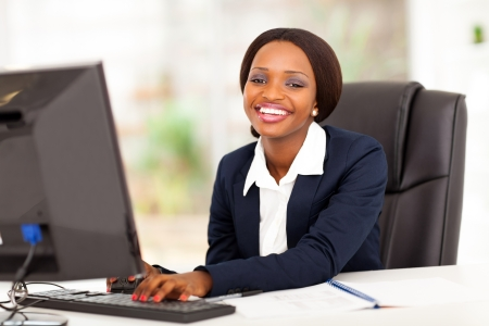 happy african american businesswoman working in office Stock Photo - 17457300
