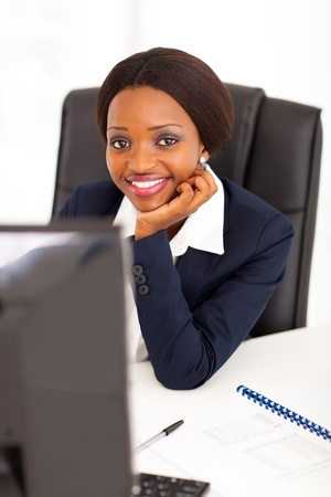 attractive young african american corporate worker in office Stock Photo - 17457162