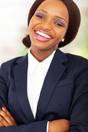 happy african businesswoman closeup portrait photo