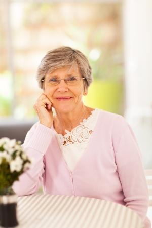 older: elegant senior woman at home