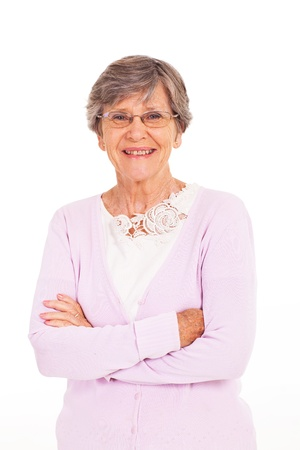 mujeres mayores: brazos altos mujer doblada aislado en blanco Foto de archivo