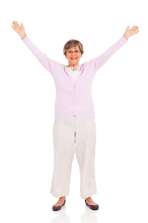 senior woman arms up isolated on white background Stock Photo - 17591169