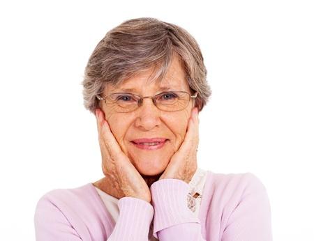 cute senior woman isolated on white Stock Photo - 17591379