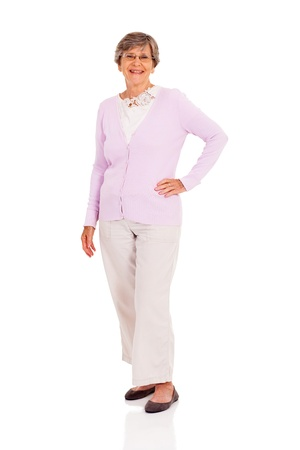 happy senior woman full length portrait on white photo