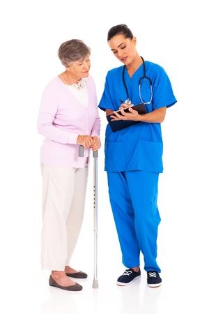 medical test: nurse explaining  medical test result to senior patient  Stock Photo