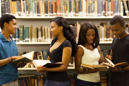 campuses: group of african american students in library