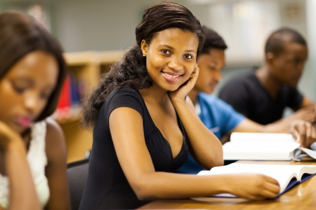 group of african american university students studying together Stock Photo - 17718477