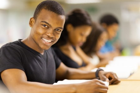 group of african university students in library Stock Photo - 17718203