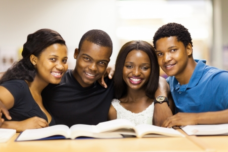 group of african american college students in library photo