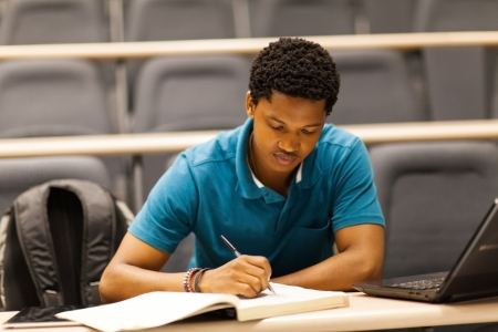 male african college student in lecture room  Stock Photo - 17718437