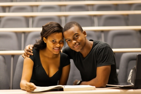 african american college couple in lecture hall photo