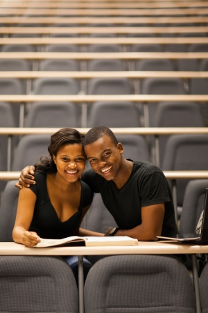 happy african american college couple in lecture room photo