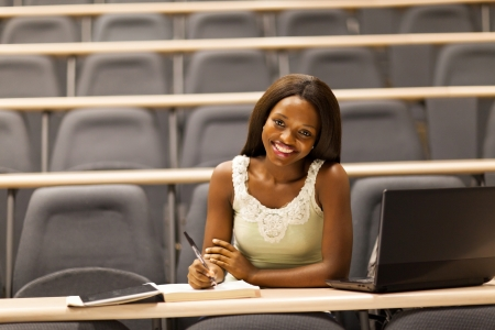 female african college student in classroom photo