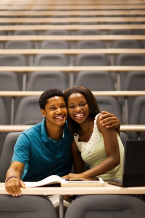 african college girlfriend and boyfriend in lecture room photo