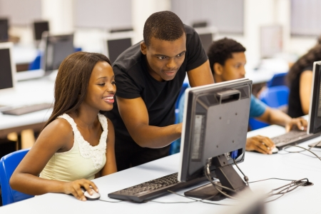 african student: group african university students in computer room Stock Photo