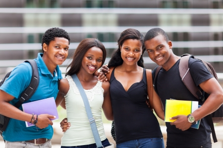 campuses: group of happy african college friends Stock Photo