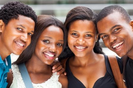 school friends: group of african american college students closeup