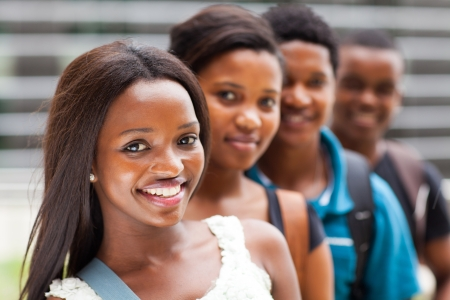 group of african college students line up Stock Photo - 17718277